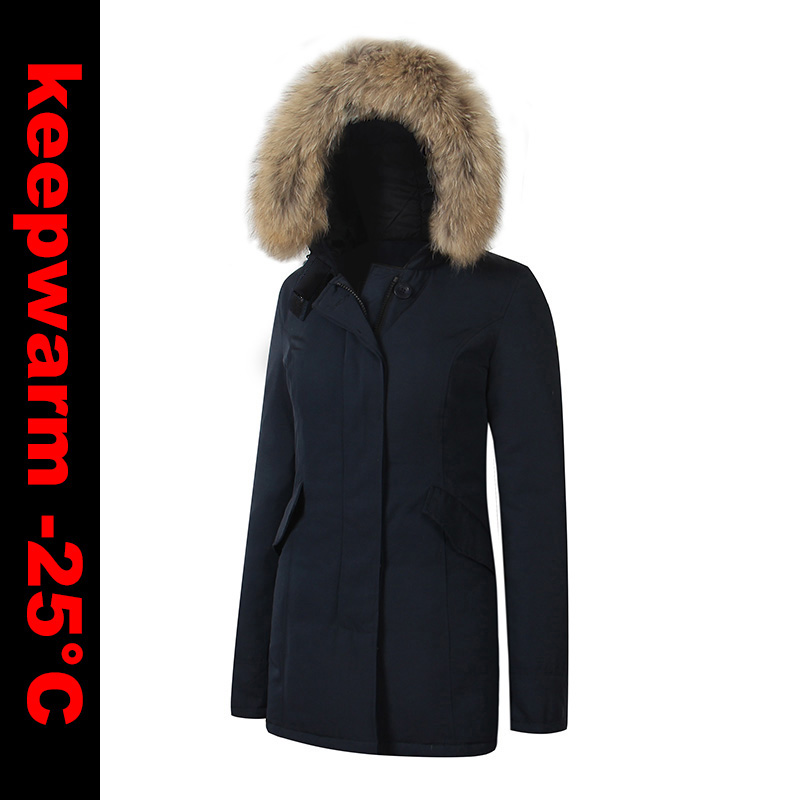 2018 di Marca Delle Nuove Donne Arctic Anatra Imbottiture Parka Spessore Caldo Inverno Parka Con rimovibile pelliccia di procione