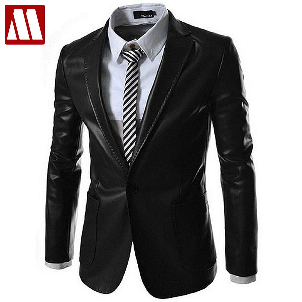 2016 New Style Fashion Mens Leather Jacket Brand Leather Blazers Men Slim Fit Suit Jacket Men 39 S