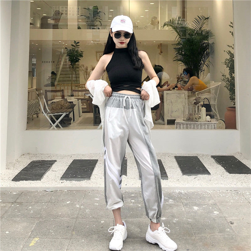 Women's Sets summer new black fashion sexy wild hanging neck vest + high waist loose harem pants two sets of women 2