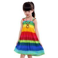 Summer Bohemian Style Girls Dress Floral Shoulderless Beading Necklace Sundress For Girls Beach Dress Clothes Vestido