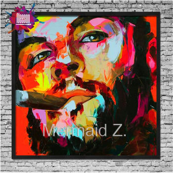 Hand painted Nielly Francoise Ernesto Guevara popular art Palette knife painting portrait abstract Oil painting Impasto figure