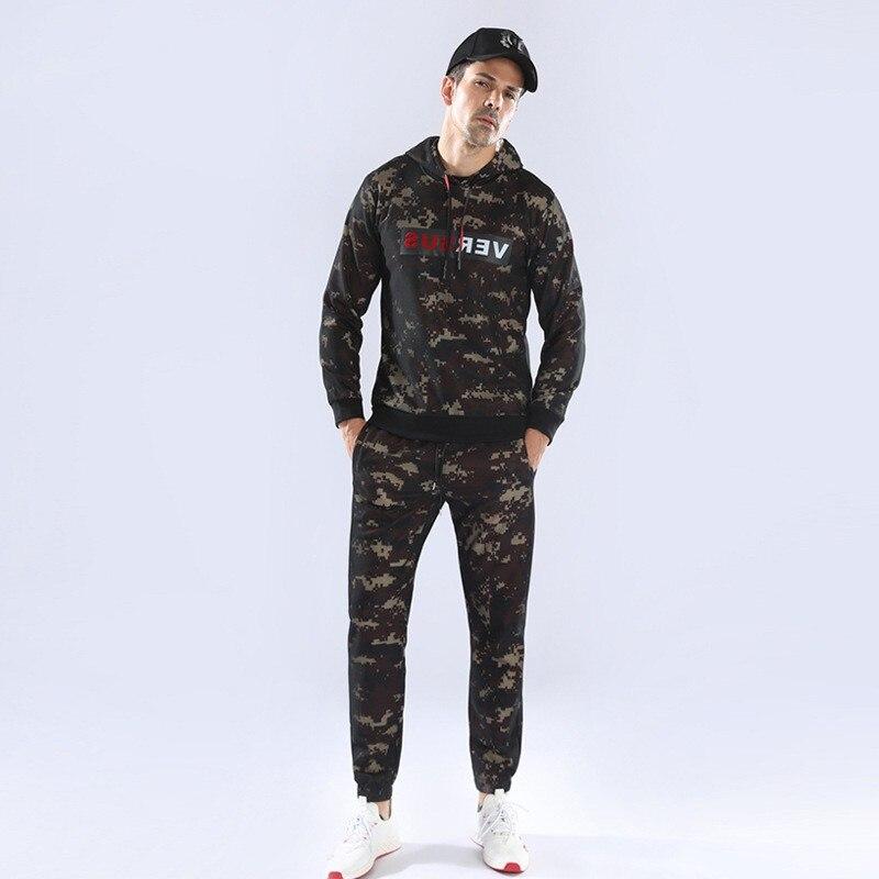 Camouflage Chaud Courir Jogging Ensemble Hommes de Costume de Sport Gym Fitness À Capuchon Costumes De Football Basket-Ball de Sport Mince Vêtements de Formation