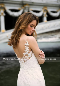 Image 5 - Deep V neck Bodice Double Layered Mermaid Wedding Dress With Detachable Train Illusion Tattoo Style Back Bridal Dress