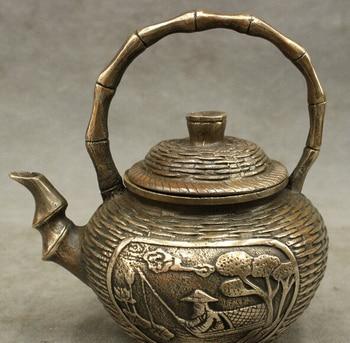 Bi002842 6 estatua de hombre de pesca inmortal de bronce chino, jarra de té tejida de bambú para vino|Estatuas y esculturas|Hogar y jardín -