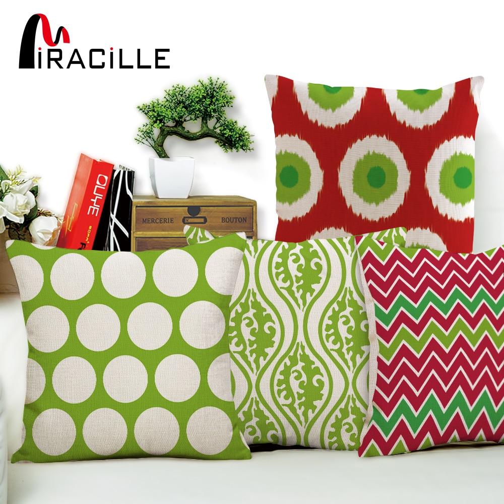 """Miracille 18 """"Ziemassvētku dažādi svītru loki Spilvenu pārvalki Ģeometrijas sarkanā un zaļā spilvena somiņa dīvānu guļamistabas dekorēšanai"""