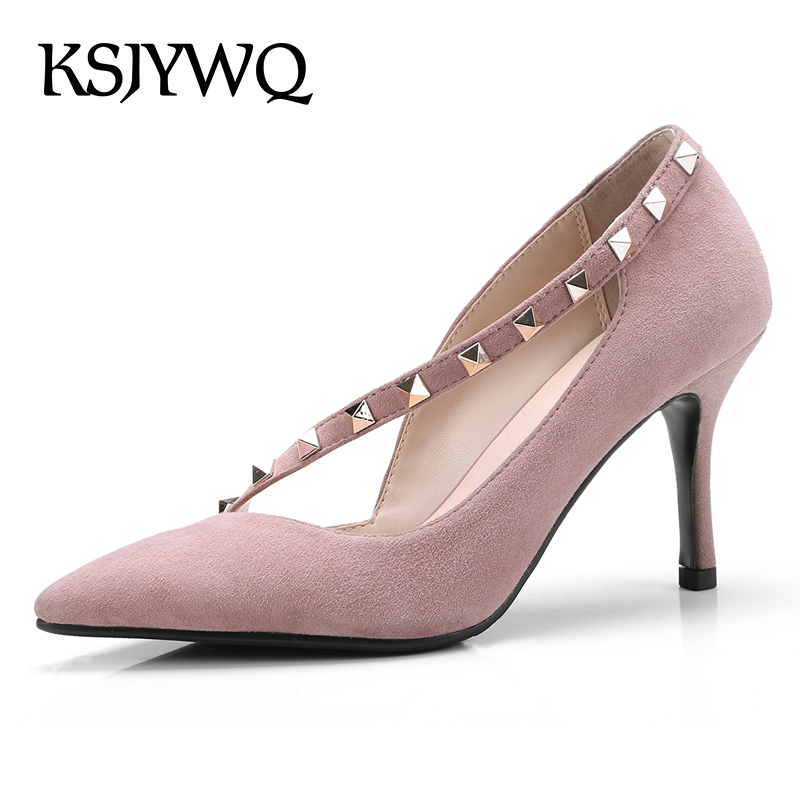 KSJYWQ 2018 Genuine Leather Women Pumps Slip-on Riets Dress Shoes 7.5 CM High  Heels Summer Style Wedding Shoe Box Packing 18-1 - aliexpress.com -  imall.com d3da10909b6e