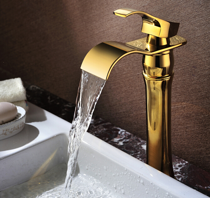 new arrival top high quality brass single lever gold Hot and Cold bathroom sink waterfall faucet basin tap free shipping new design high quality brass material single lever basin faucet
