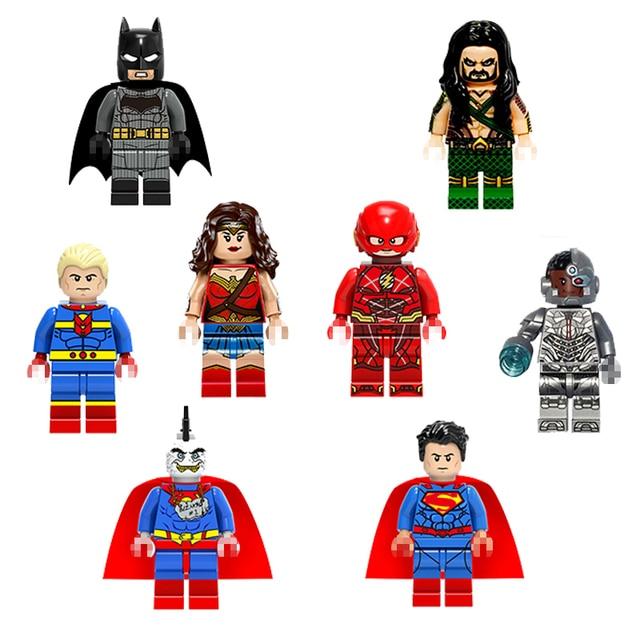 1pc Mini Bloco de Construção De Super-heróis Figuras de Ação Brinquedo Ação Personagem Brzarro Aquaman Batman Brinquedos Modelo Para As Crianças