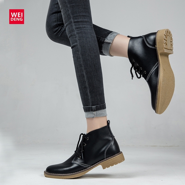 Botas de couro femininas weideng, 6 cores, genuínas, moda inverno, com cadarço, clássico, estilo alto, casual, à prova d água