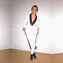 Custom Womens Business Suits White Ladies Elegant Pants Suit Formal OL Female Trouser Black Lapel Long Sleeve 2 Piece