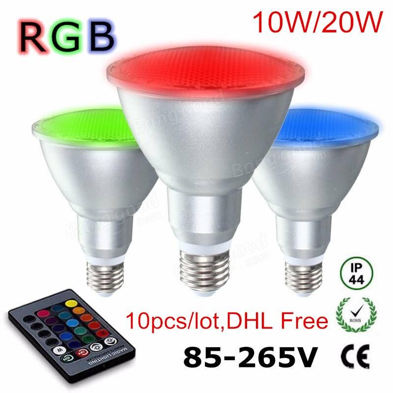 10Pcs E27 Par30 Par38 10w 20w RGB LED Spotlight Dimmable aluminum glass RGB LED Bulb waterproof