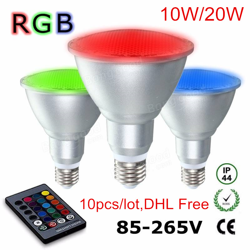 10Pcs E27 Par30 Par38 10w 20w RGB LED Spotlight Dimmable aluminum & glass RGB LED Bulb waterproof Remote Control AC110V 220V free shipping 20w cob led light par38 e27 spotlight 90 100lm w par38 lamp dimmable led bulb warm cold white ac85v 265v 20pcs lot