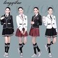 Prendas de vestir uniforme escolar infantil y coro de estudiantes de la escuela primaria lectura Británica de manga larga uniformes escolares estudiante