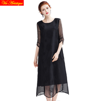women's render Christmas skater dress lady's long casual office loose fit silk dresses black white party floral 2018 summer VA