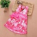 Бесплатная Доставка 5 Шт./лот Розовый цвет 0-4 Лет девушки Halterneck Платье Принцесса Цветок Платье печати
