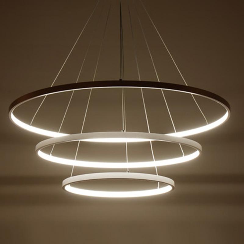 AC85 265V Circle Pendant Chandelier Lighting For Dining Kitchen Room Rings Aluminum Hanging Chandelier lustre de