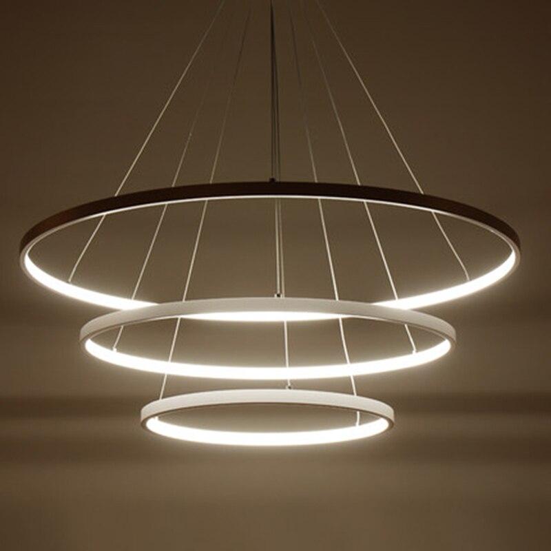 AC85 265V サークルペンダントのシャンデリアの照明ダイニングルームリングアルミぶら下げシャンデリア光沢デ飾り近代  グループ上の ライト & 照明 からの シャンデリア の中 1