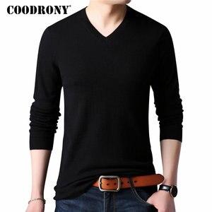 Image 1 - COODRONY suéter de cachemira grueso y cálido para hombre, ropa para hombre, suéter de lana Merino de 100%, suéter de talla grande con cuello en V, 2018