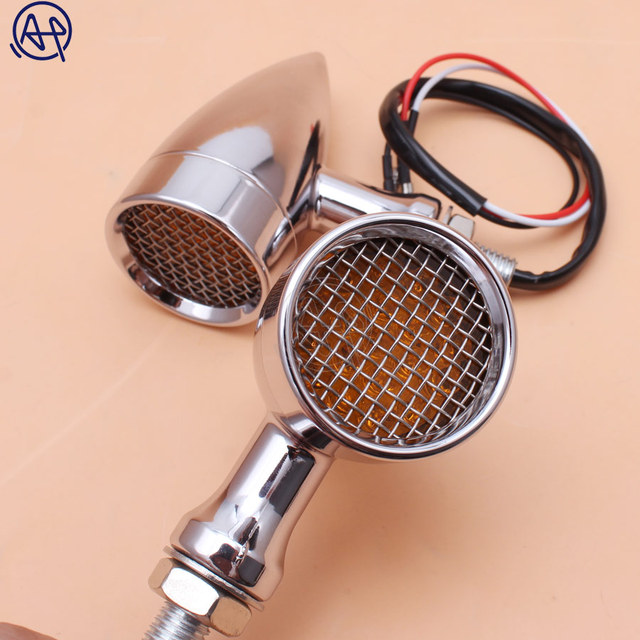 Black/Chrome Motorcycle 12V Amber Mesh Lens LED Turn Signal Brake Light 10mm Aluminum Housing For Chopper Bobber Cafe Racer