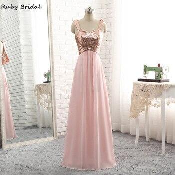 Ruby Bridal Vestido De Festa Long Pink Evening Dresses Chiffon Pleats Sequins Luxury A-line Cheap Low Back Party Prom Gown P123