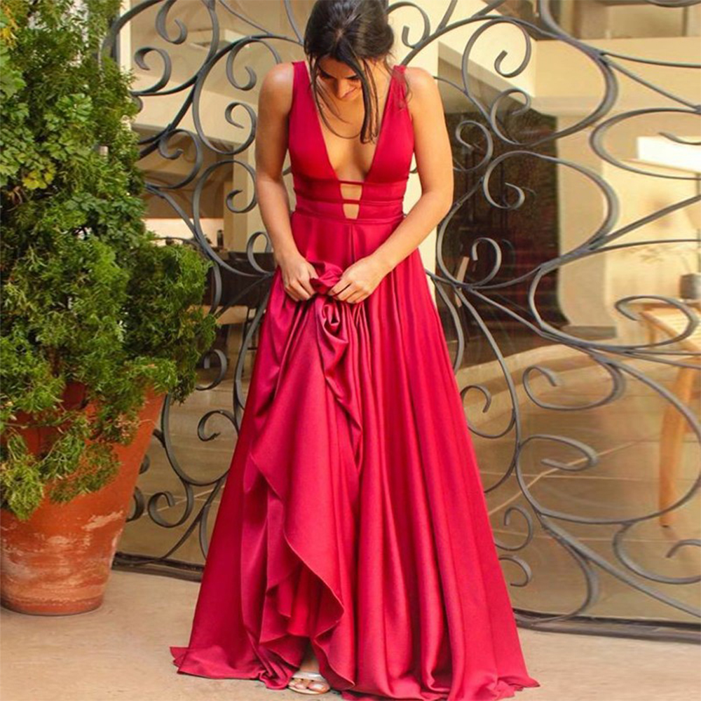 Bbonlinedress Red Prom Dress Satin A-Line Deep V-Neck Sleeveless Long Prom Dress Elegant Formal Party Gowns vestido-de-festa