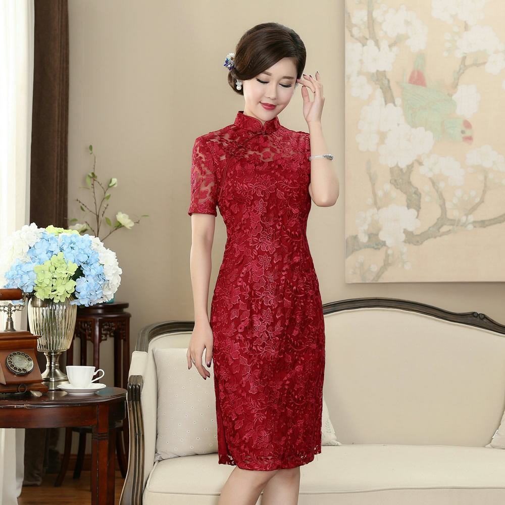 Traditional Chinese Lace Dress Women's Red Cheongsam Size M to 3XL