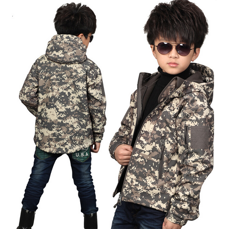 TAD Tactical Shark Skin Children Softshell Jacket Kids Army Clothes ACU Camouflage Military Tactical Waterproof Jackets tad tactical shark skin children softshell jacket kids army clothes acu camouflage military tactical waterproof jackets
