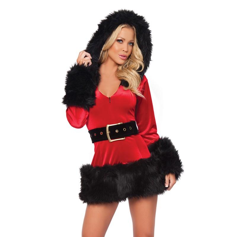 Fur Trim Short Mini Christmas Adult Costume Sexy Christmas Lingerie Costume Sexy Women Velvet Santa Claus Costume L70925 L70925 (1) 800x800