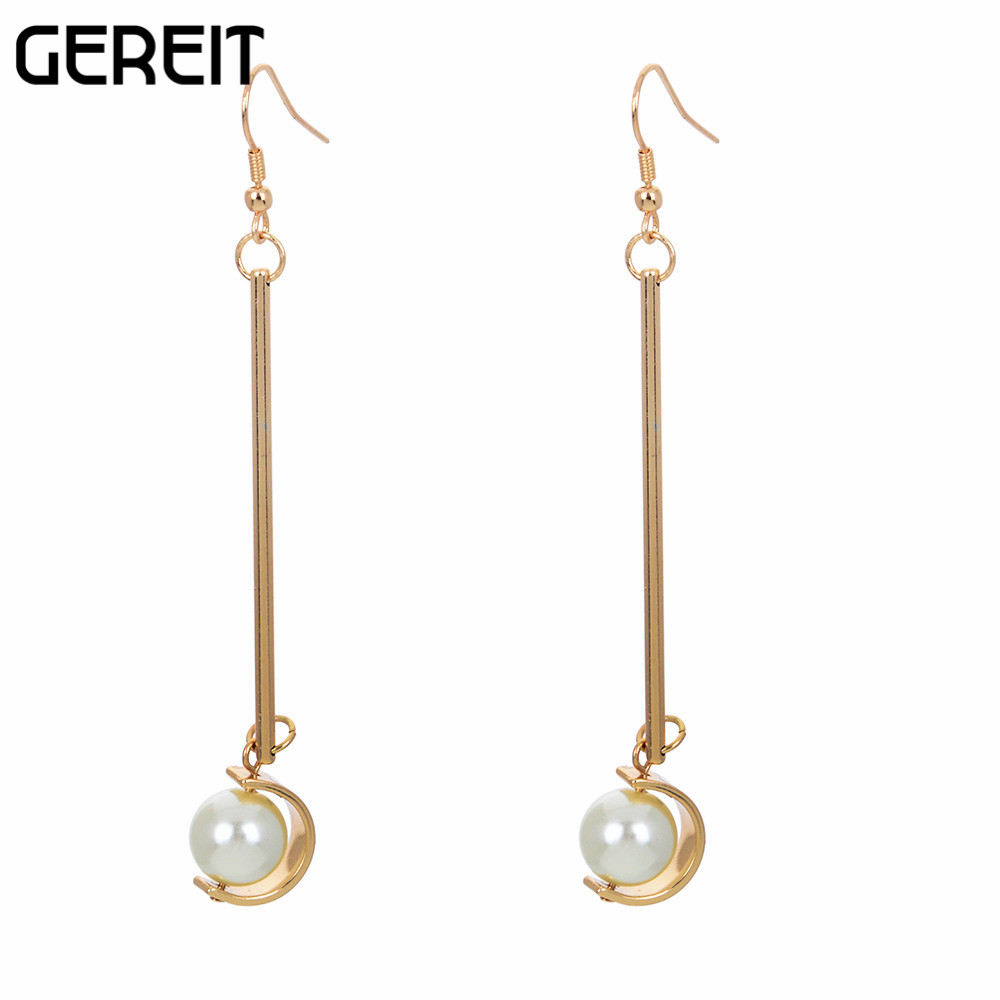 Trendy Costume Accessories Goldcolor Long Drop Earrings Luxury Simulated  Pearl Earrings For Women Fashion Jewelry Top Quality