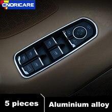 CNORICARC 5 pcs In lega di Alluminio della Finestra di Automobile Di Vetro Ascensore Bottoni telaio copertura decorazione assetto per Porsche Panamera Cayenne Macan