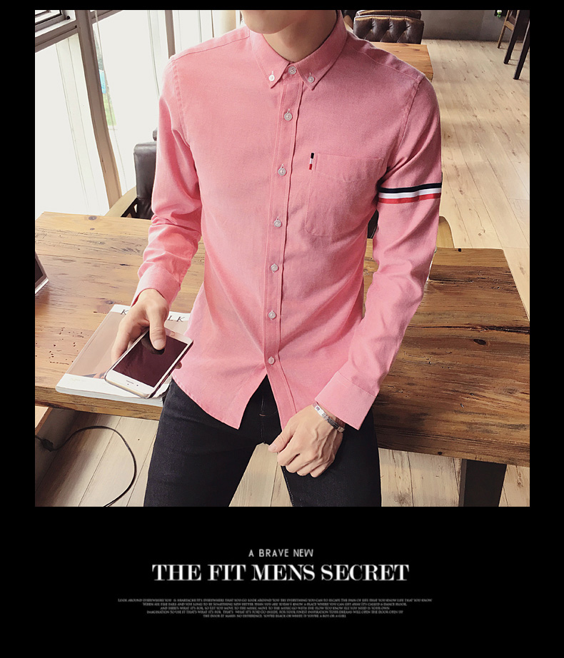 2017 New autumn men's casual tops brand shirt striped Strip decorate cotton men fashion solid color long sleeved Shirts M-XXXL 79