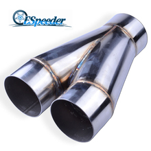 ESPEEDER Universal Y Shape 3.5′ Inlet 3.5′ Double Outlet Stainless 3.5′ Car Exhaust Tip Muffler Pipe Exhaust System