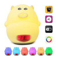 Led Night Light Alarm Clock for Kids Cute Pig Clock USB LED Lights Silicone Baby Lamp Color Changing Baby Kids Bedside Lamp