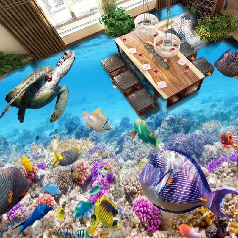 Free Shipping sea world marine tropical fish coral reef flooring painting kitchen decorative self-adhesive floor mural корм tetra tetramin xl flakes complete food for larger tropical fish крупные хлопья для больших тропических рыб 10л 769946