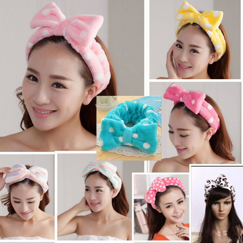 Lovely Bow Dot Striped Soft Shower Hair Band Wrap Headband Bath Spa MakeUp Cute Headwear