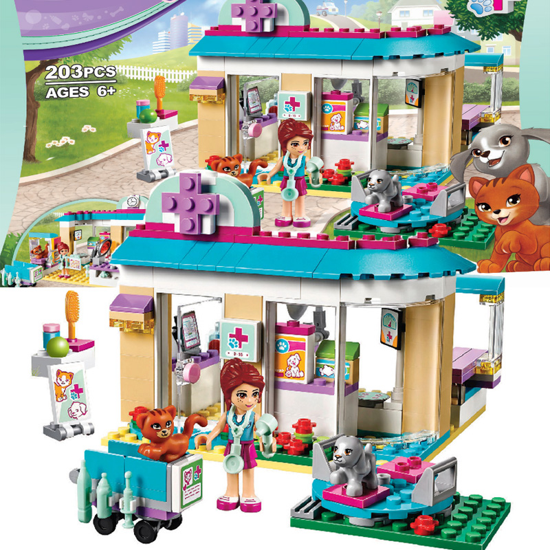BELA 10537 Vet Clinic Pet Hospital Building Blocks Compatible con amigos LegoINGly 41085 para niñas