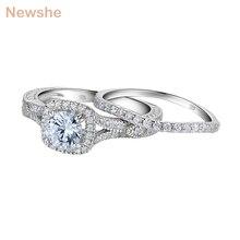 Newshe 2 ชิ้นงานแต่งงานชุดแหวน 925 เงินสเตอร์ลิง 1.2CtตัดรอบAAA CZหมั้นแหวนJR5606