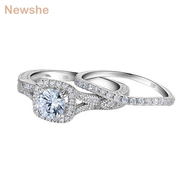 Newshe 2 قطع خاتم الزواج مجموعة 925 فضة 1.2Ct قطع مستديرة AAA تشيكوسلوفاكيا خواتم الخطبة للنساء JR5606
