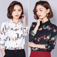 2019 Autumn spring Black Flower Print Blouse Women Turn Down Collar Button Down Blouse Shirt Casual Cotton Blouses Shirts 600B5 girls plaid blouse 2019 spring autumn turn down collar teenager shirts cotton shirts casual clothes child kids long sleeve 4 13t