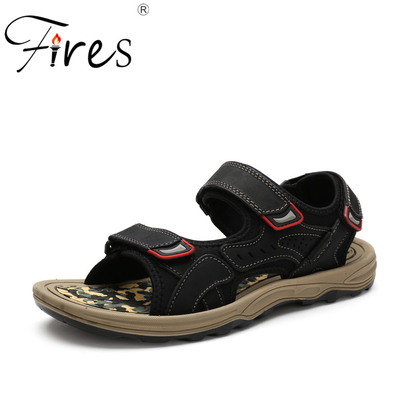 Fires New Summer Men Sandals Artificial Leather Outdoor Shoes Casual Black Camouflage Insoles Leisure Shoes Male Loafer Shoes