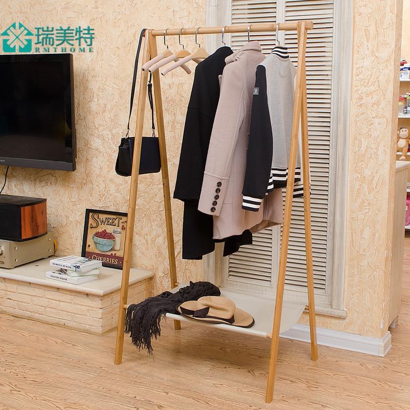 Rui US Teou Style Bamboo Floor Bedroom Multifunction Simple Folding Coat  Rack Coat Rack Hangers Clothes Rack In Underwear From Mother U0026 Kids On ...