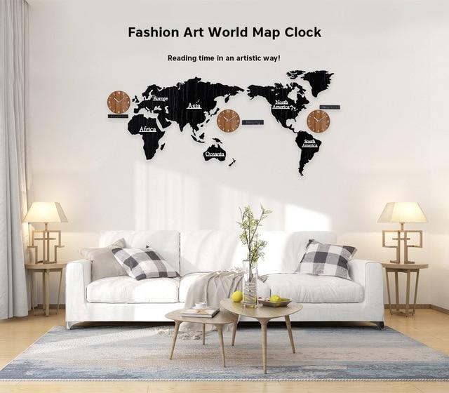 3D World Map Large Wall Clock DIY Wooden MDF Digital Wall Clock wood ...