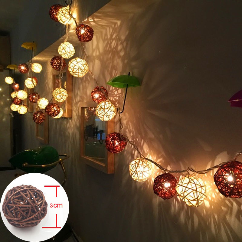 LED String Holiday Lights 20 Coffee White Rattan Ball Lights AC Plug Battery Operated LED Wedding Christmas Tree Lights Garlands white 200 led white christmas ornamental string lights 4 5 meter 220v ac