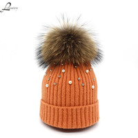 Lanxxy New Wool Beanies Women Real Fur Pom Pom Fashion Pearl Knitted Hat Girls Female Beanie
