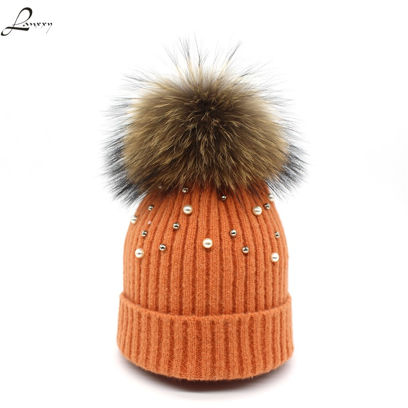 Lanxxy New Wool Beanies Women Real Fur Pom Poms Fashion Pearl Knitted Hat Girls Female Beanie Cap Pompom Winter Hats for Women