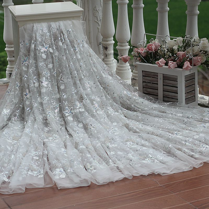 Free shipping width121cm ivory vintage embroidered lace for Wedding dress fabric stores