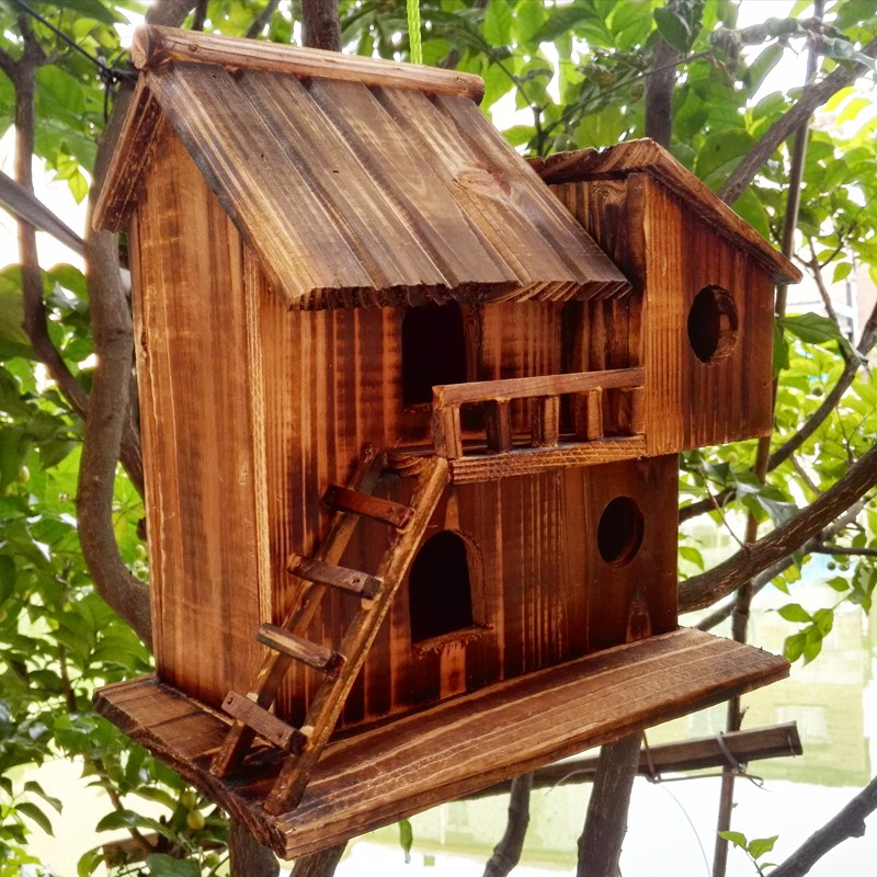 house garden wood hanging outdoor bird home nest birdhouse cage yard patio decor ebay. Black Bedroom Furniture Sets. Home Design Ideas