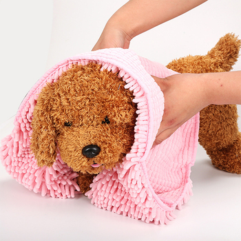 Multipurpose Quick Drying Pet Bath Towel Creative Water Absorption Chenille Microfiber Puppy Dog Hair Bath Towel Pet Products