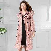Women Fashion Sexy Pink Yellow Lace Trench Coat Floar Double