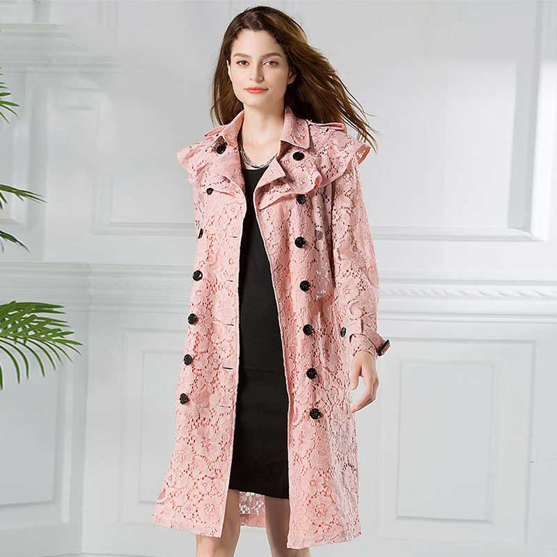 Women Fashion Sexy Pink Yellow Lace   Trench   Coat Floar Double Breasted Coats See Through Long Outwear Spring Autumn Oversize